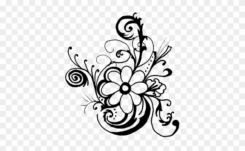 Flower Border Png Black And White , Free Transparent Clipart - ClipartKey