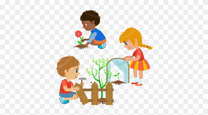 Pin Children Gardening Clipart Cartoon Picture Of Children Planting Free Transparent Png Clipart Images Download
