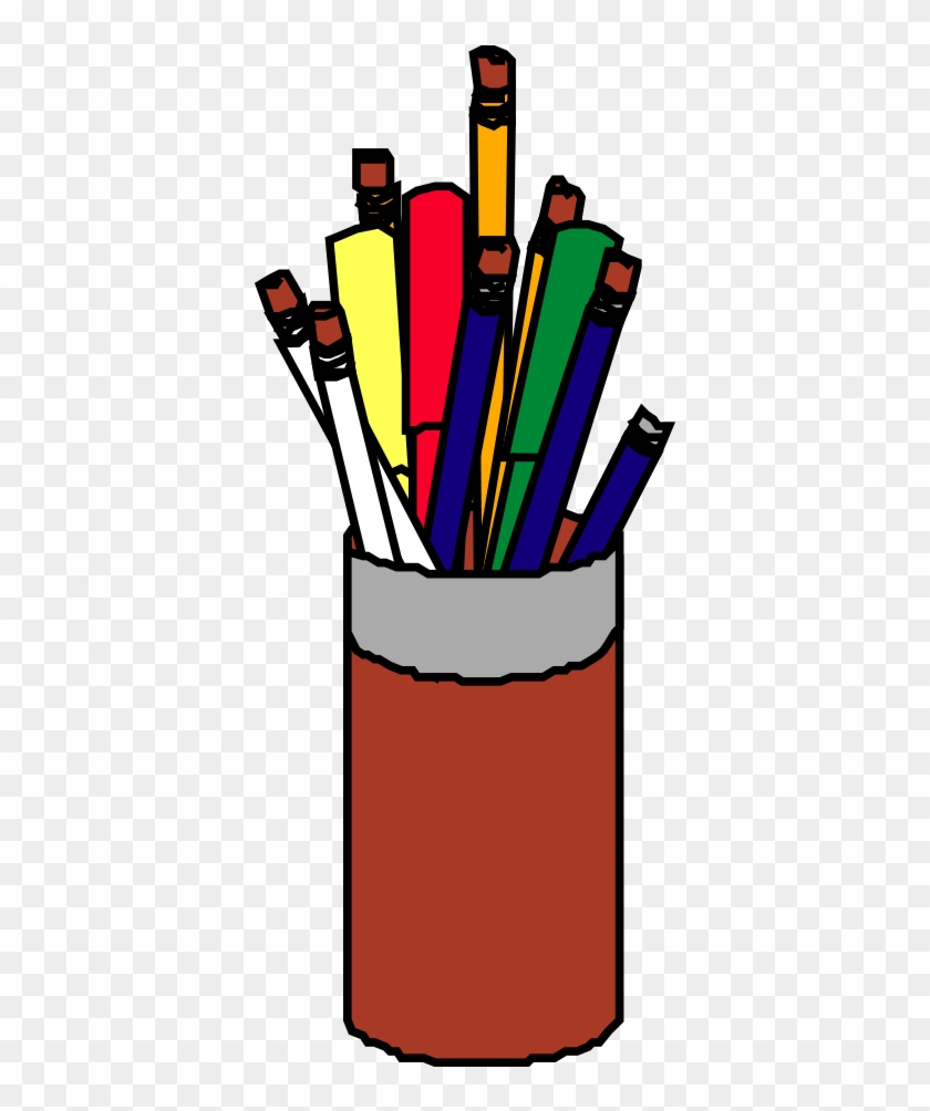 Pen Brush Pot Red Clip Art - Brush Pot #508972