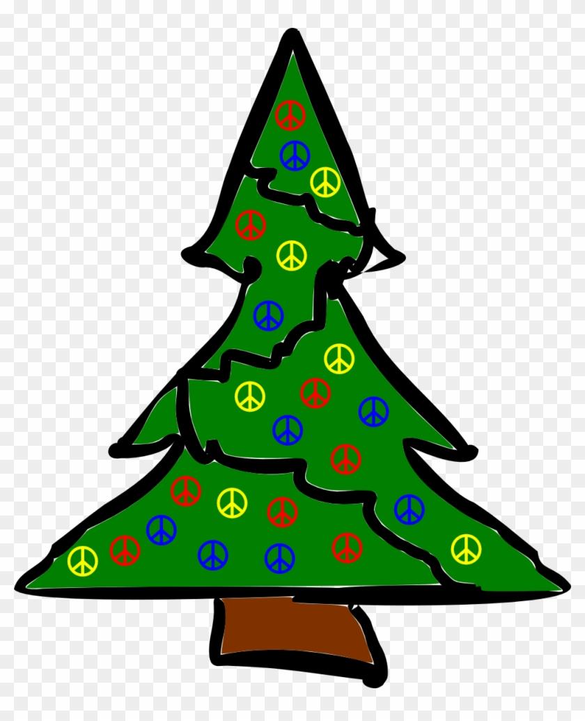 Rough Xmas Tree Christmas Peace Symbol Sign Coloring - Christmas Motifs Free #509508