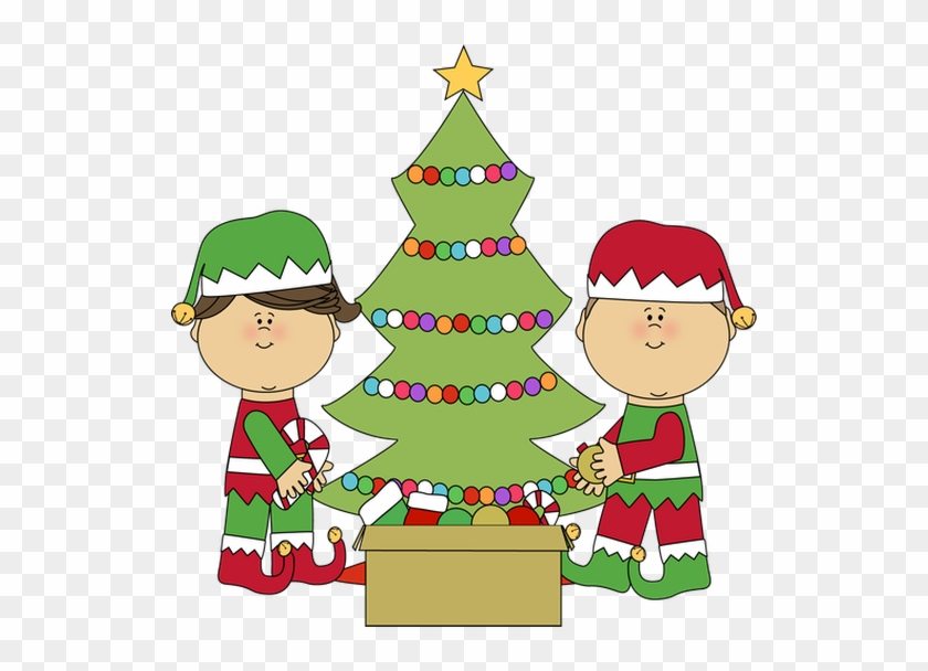 Thursday, January 1st For New Years Day From Our Family - Elves Decorating Christmas Tree #509681