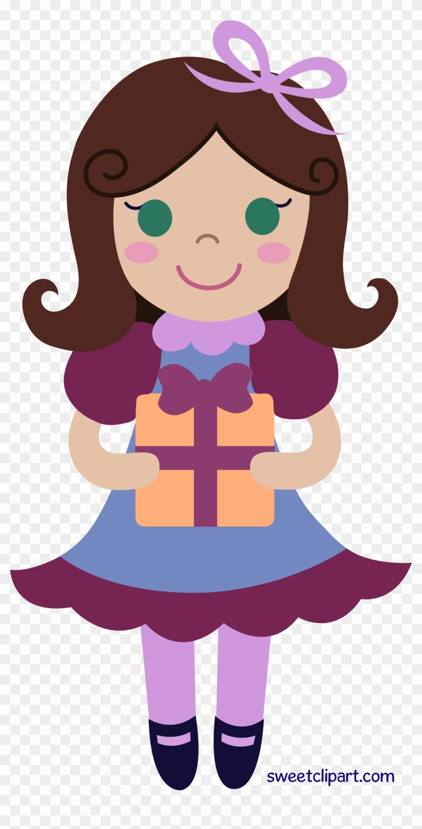 Birthday Present Clipart Girl