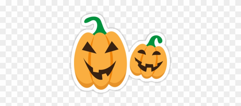 Fun Halloween Sticker Featuring Two Cute Cartoon Jack - Jack-o'-lantern #513846