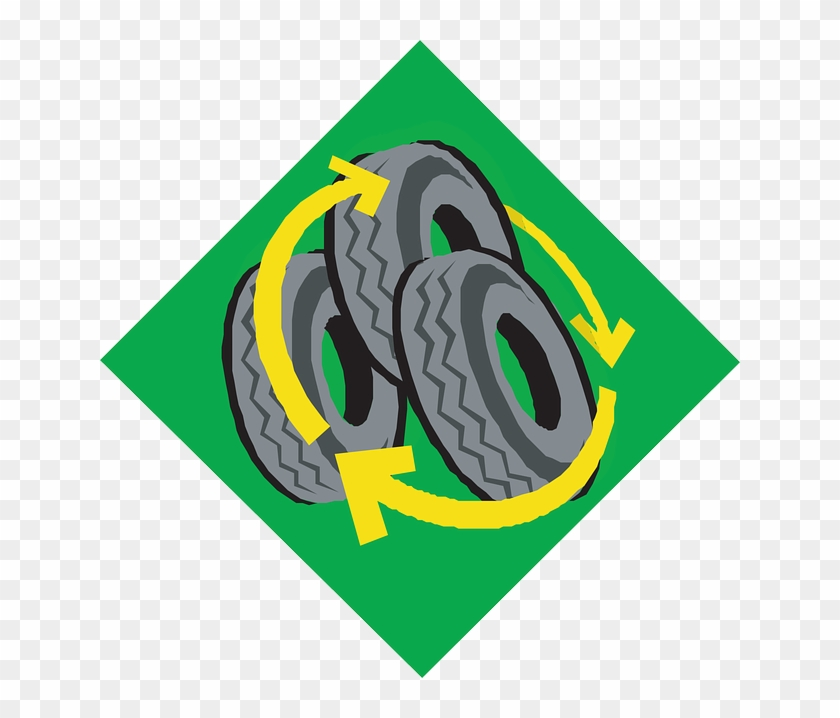 Tires Sign Green Symbol Car Recycle Arrows Parts Tire