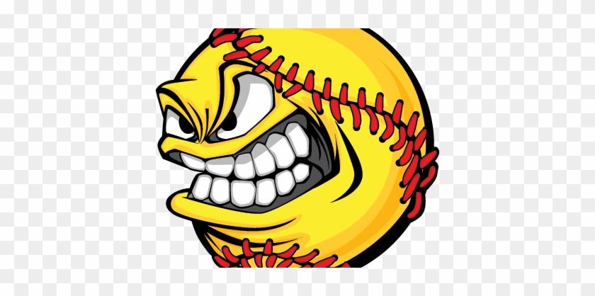 Mean-softball Right - Baseball Face Cartoon Ball #515518