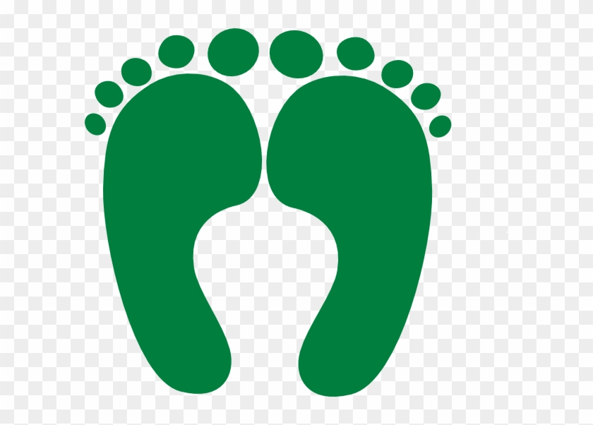 This Free Clip Arts Design Of Dark Green Happy Feet - Baby Footprints With Heart #516411