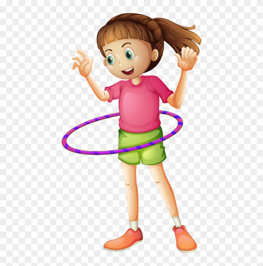 Buy Girl Playing With Hulahoop By Interactimages On - Girl Sport Clipart Png #519068