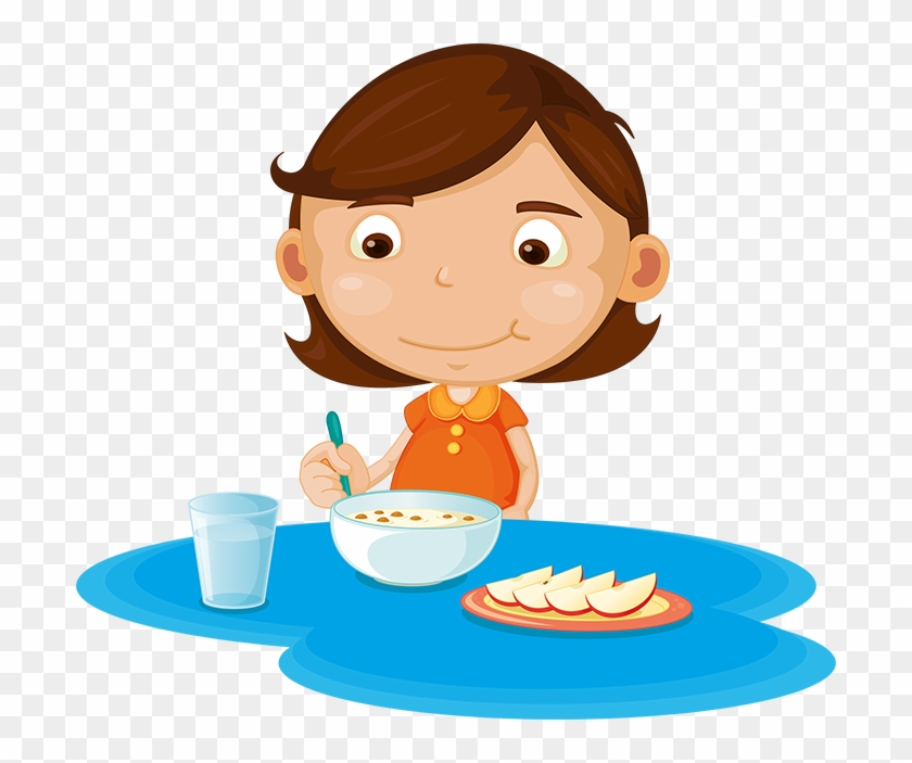 Girl Eating Cereal And Fruit - Cartoon Girl Eating Breakfast #522433