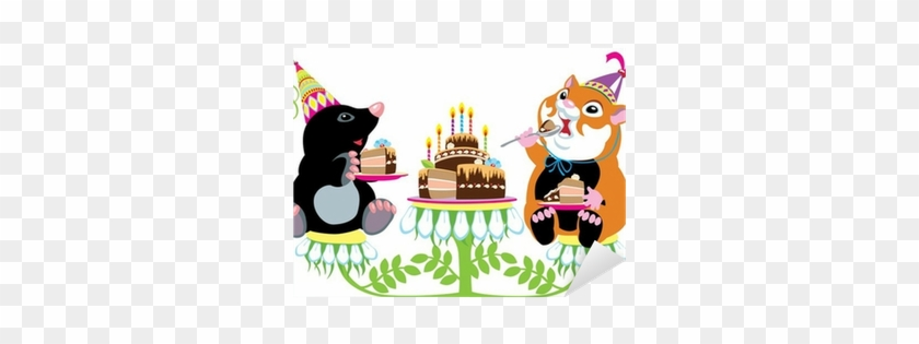 Mole And Hamster Eating Birthday Cake Sticker • Pixers® - Fiesta De Animales Dibujo Animado #522702