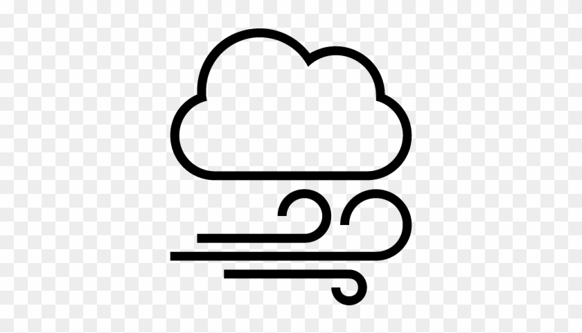 Windy Cloudy Weather Outlined Interface Symbol Vector Weather