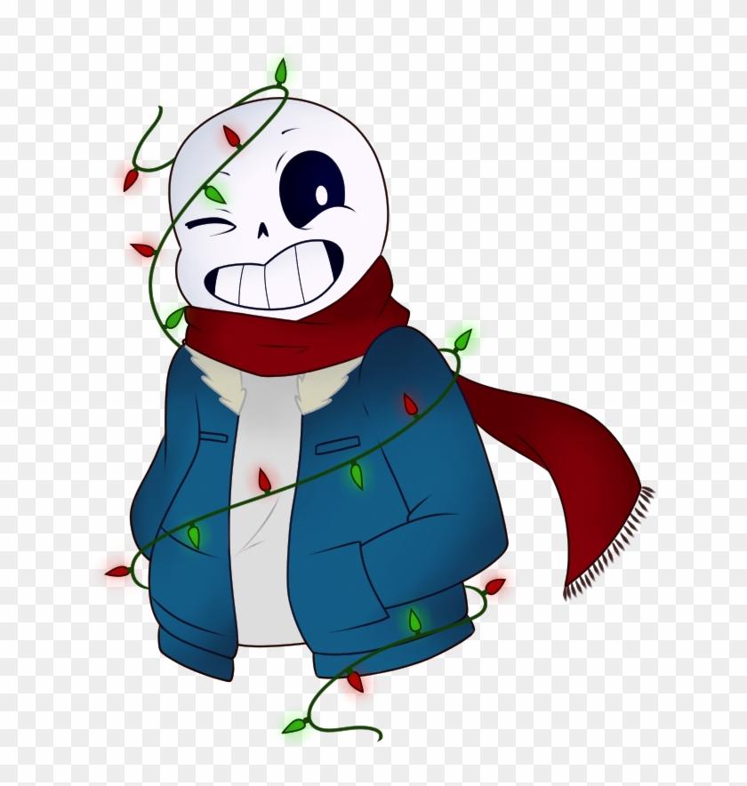 Christmas Skeleton.Fairy Lights Christmas Sans Undertale By Featherletters