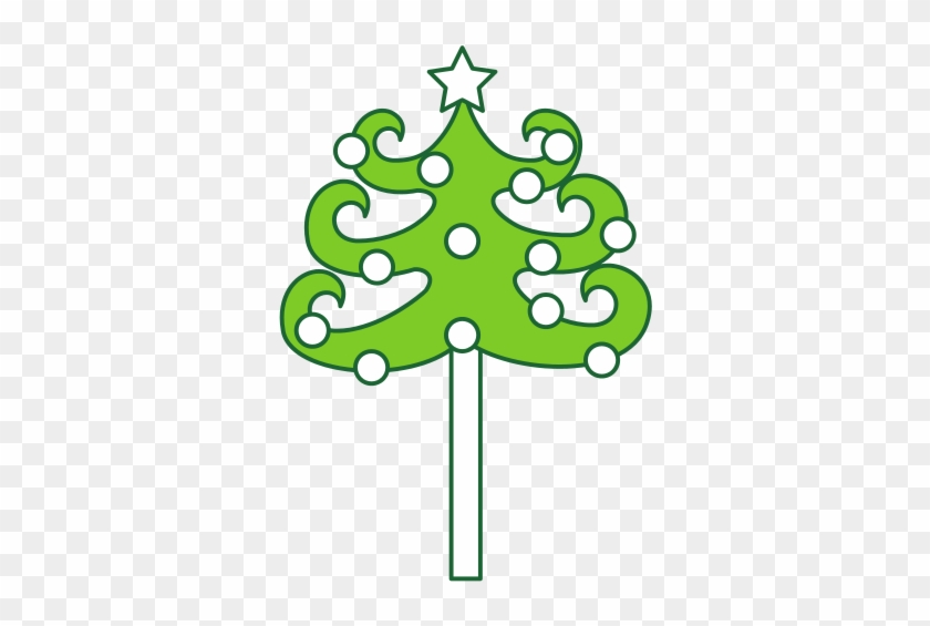 Christmas Tree With Star And Ornaments Isolated Icon - Christmas Tree #526479