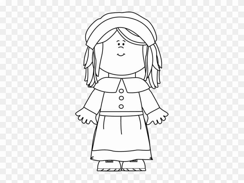 black and white pilgrim girl clip art free transparent