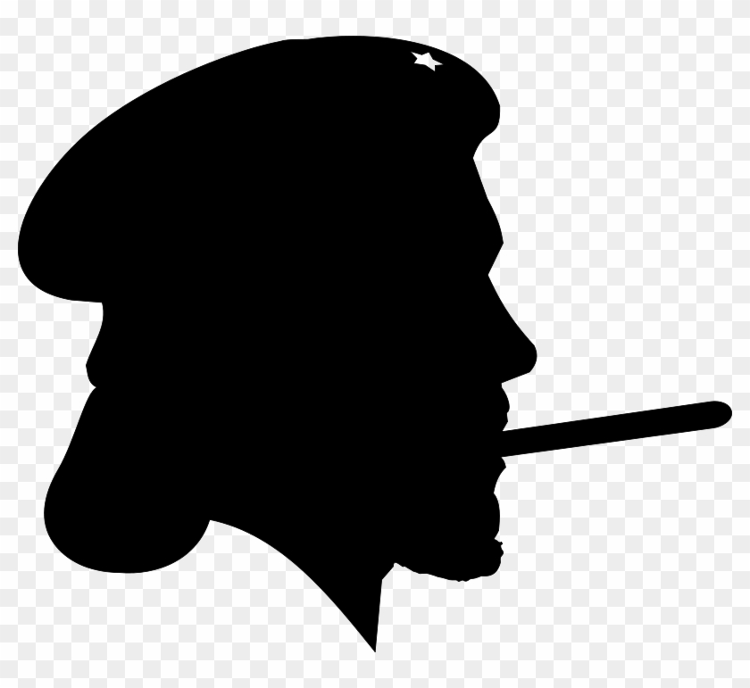 Free Revolutionary With Cigar Silhouette Profile Clip Art Che