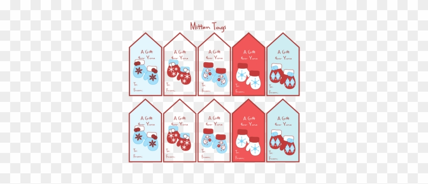graphic regarding Printable Sticker Labels identified as Mitten Present Tags And Record - Printable Xmas