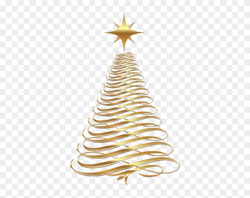 Large Transparent Christmas Gold Tree - Gold Christmas Tree Png #529955