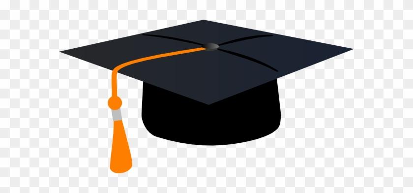 Graduation Hat With Orange Tassle Clip Art At Clker - Graduation Cap Green Tassel #530586