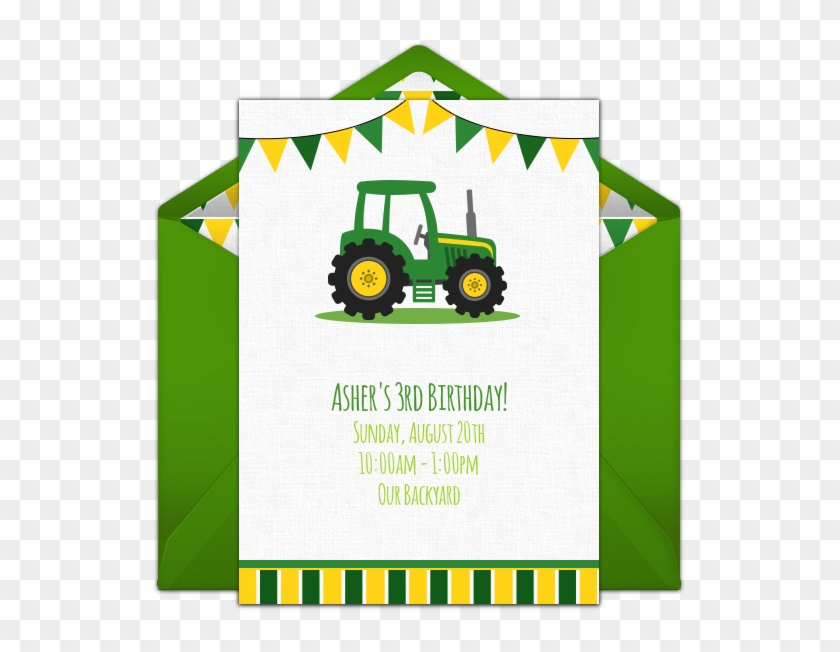 free birthday party invitation with a tractor design tractor tire