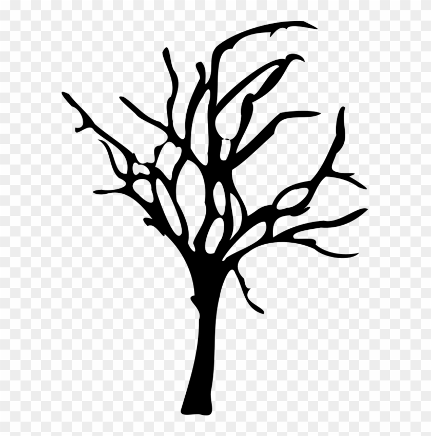 Silhouette Drawing Of Halloween Small Dead Tree - Spooky Tree Silhouette Png #531291