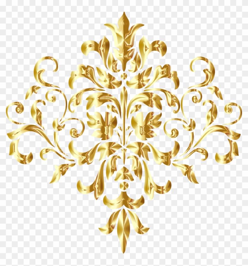 Simple Damask Patterns Png - Gold Design Transparent Background #531471