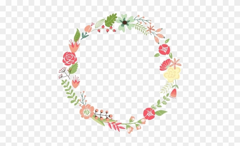 Cute Retro Flowers Arranged Un A Shape Of The Wreath