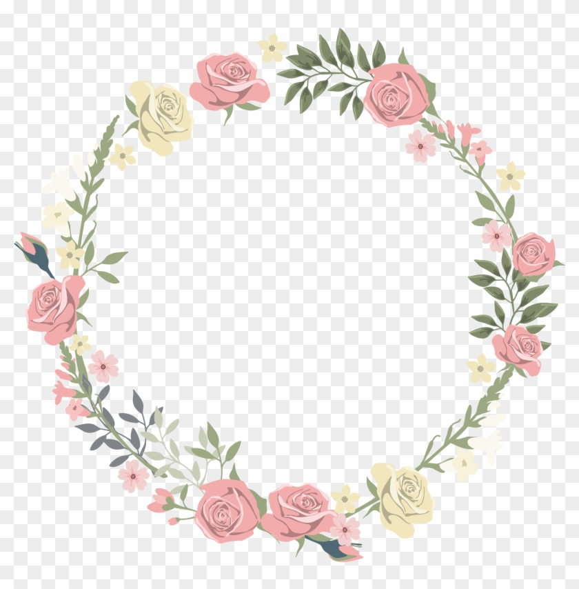 Wedding Invitation Picture Frame Flower Watercolor - Floral Circular Border Png #534003