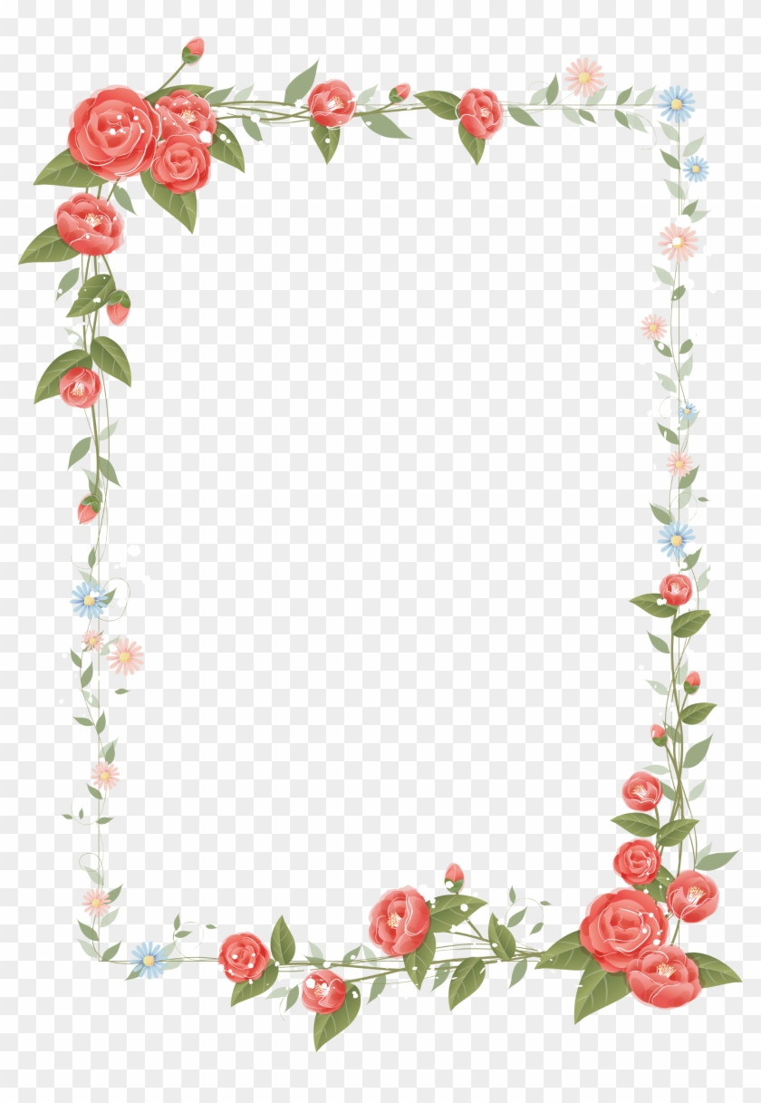 Border Flowers Floral Design Clip Art - Frame Border Flower Design Transparent #535014