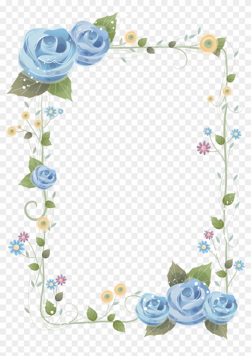 Flower Blue Rose Picture Frames Clip Art - Frame Flower Border #535123