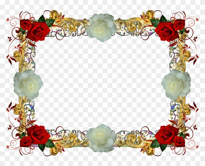 Red And White Rose Frame 1 By Lady1venus - Red Roses Greeting Cards ...