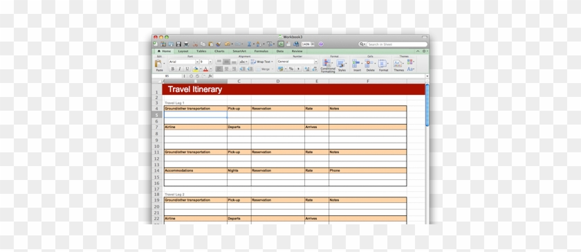microsoft travel itinerary template