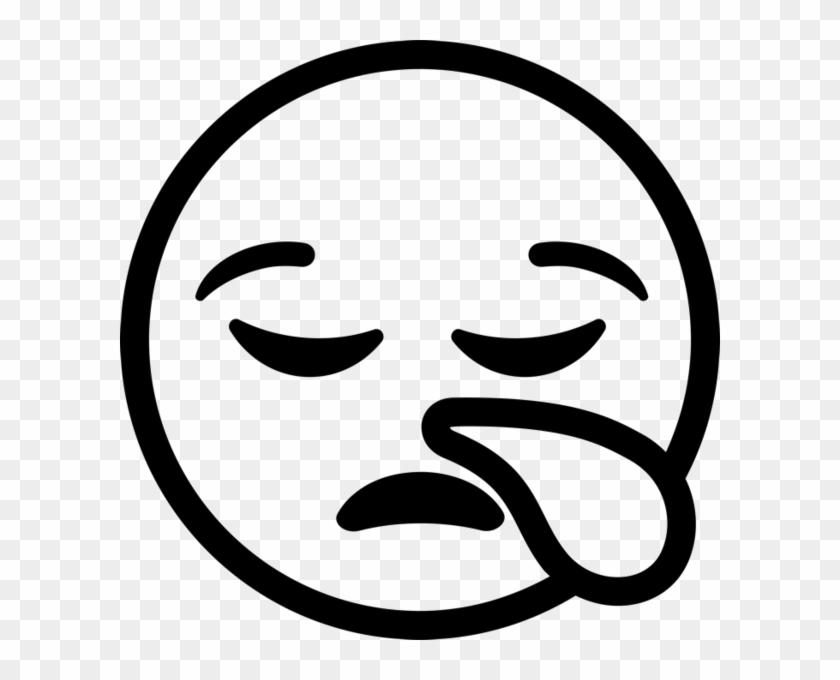 Sleepy Face Emoji Rubber Stamp - Tired Emoji Black And White