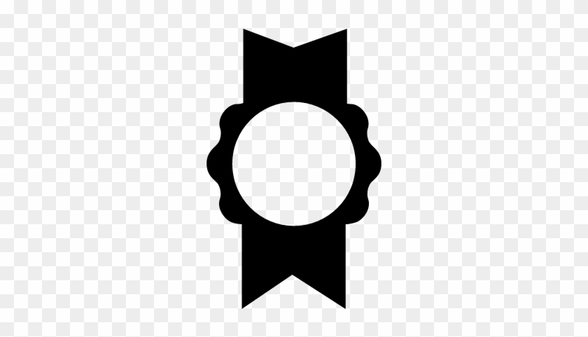 Symbolic Medal With Ribbon Vector - Ribbon Award Black White #541620