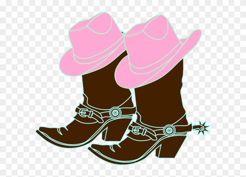 How To Set Use 2 Girl Cowboys Svg Vector - Pink Cowgirl Boots Clipart #543512