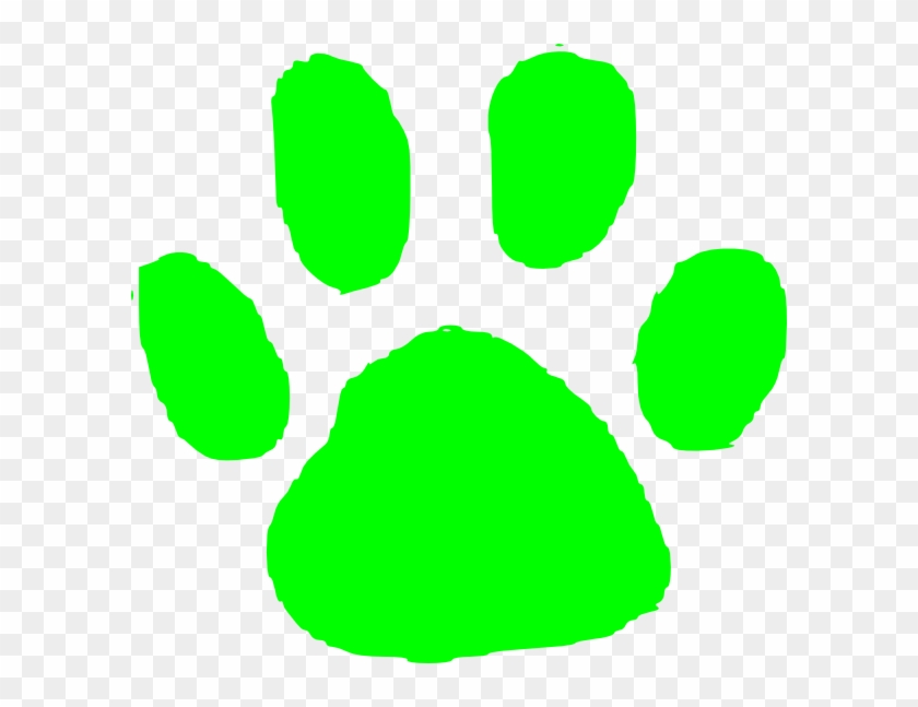 This Free Clip Arts Design Of Green Pawprint - Lime Green Paw Print #543763