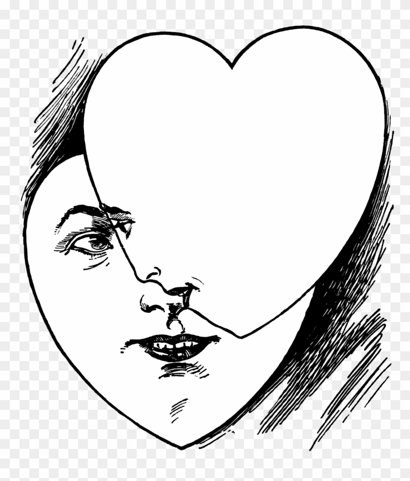 Vintage Heart Faces Illustration, Public Domain - Illustration #94507