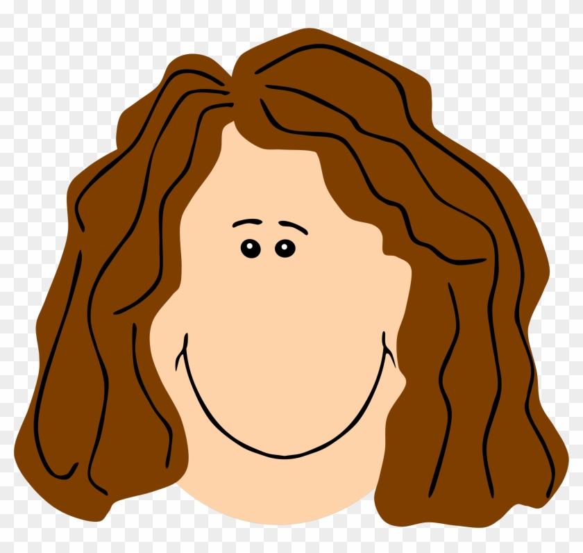 Mommy Clipart Mother Face - Cartoon With Brown Hair #94575