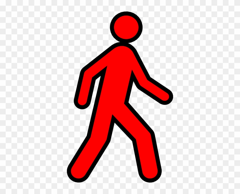 Human Clipart Red - Red Stick Figure Walking #94868