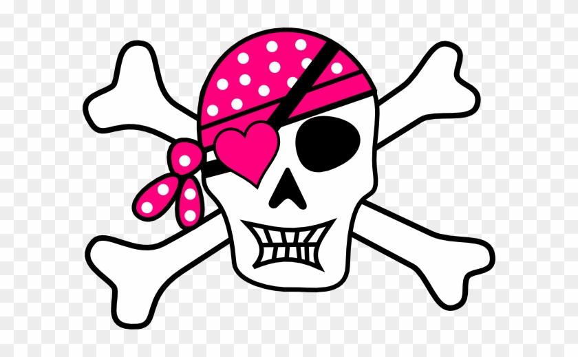 Pink Pirate Cross Bones Clip Art At Clker Com Vector - Skull And Crossbones Pink #94897