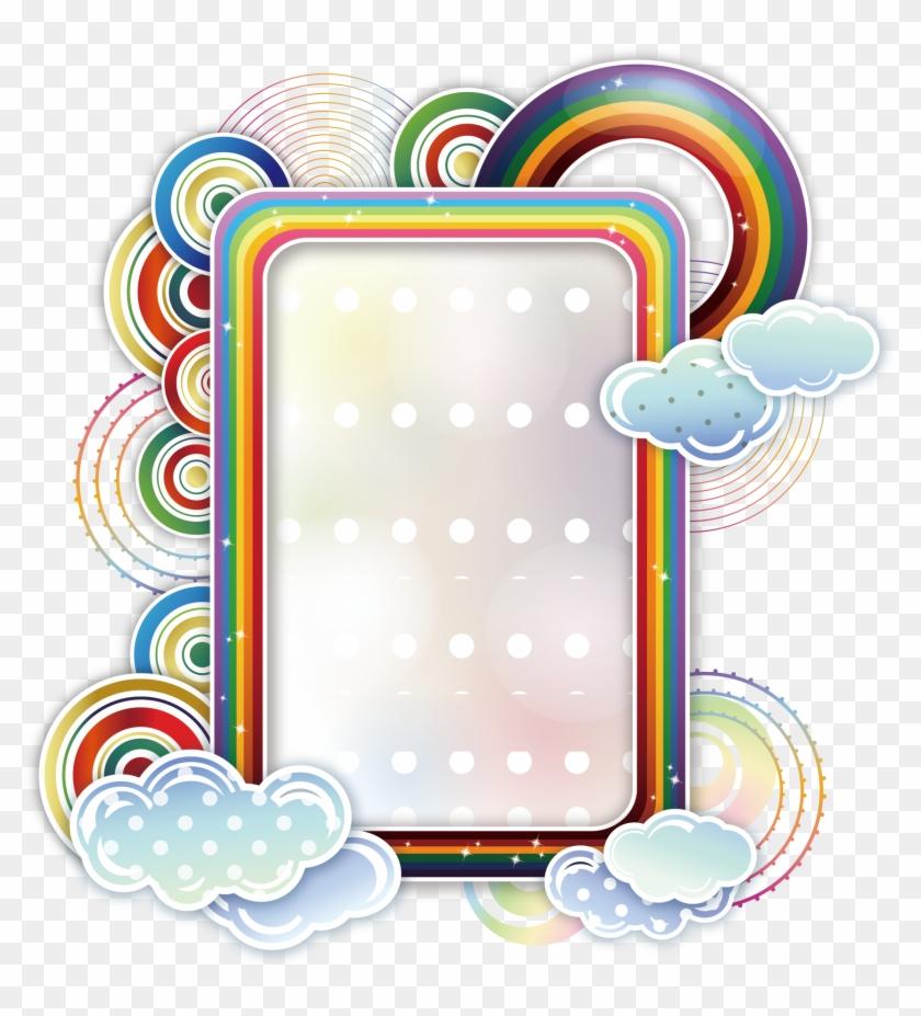 Borders And Frames Rainbow Cloud Clip Art - Vector Border #94963