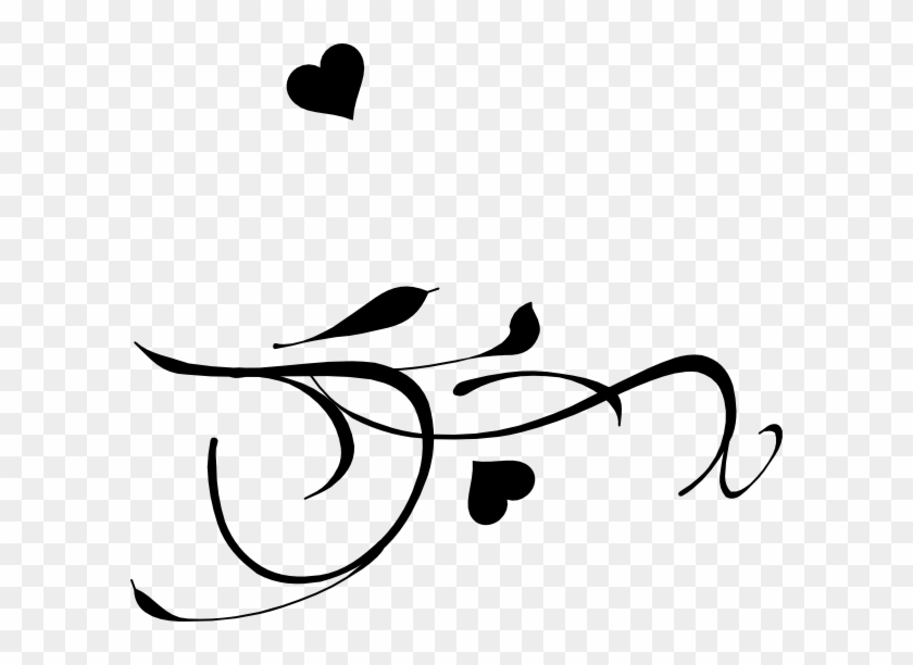 Fancy Heart Clip Art Black And White - Wedding Bird Png #95128