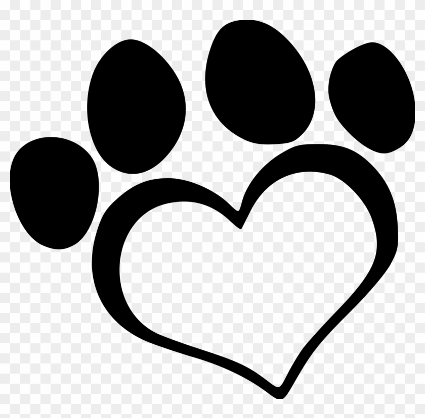 Heart Dog2 Paw File Size - Heart Paw Print Clip Art #95129