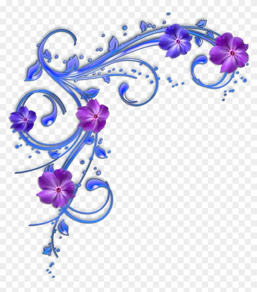 Purple Flower Clipart Flower Border - Purple And Blue Flowers Clipart #95242