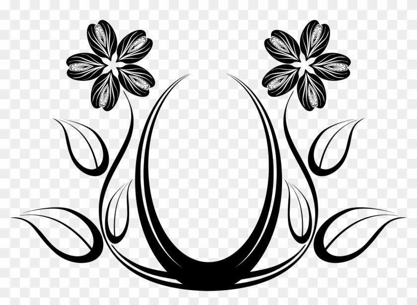 Black Rose Silhouette Design Free Clip Art Flower ~ - Clipart Floral Designs Png #95434