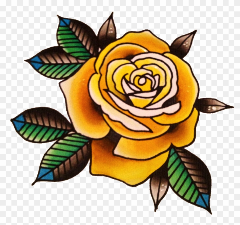 Yellow Rose Flower Free Png Transparent Images Free - Rose Tattoo Old School Png #95476