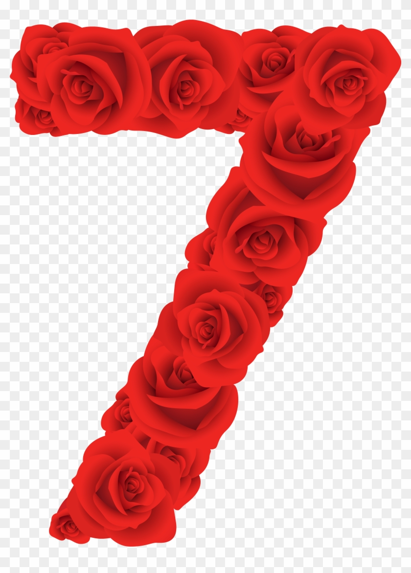 Red Roses Number Seven Png Clipart Image - Rose Numbers Png #95556