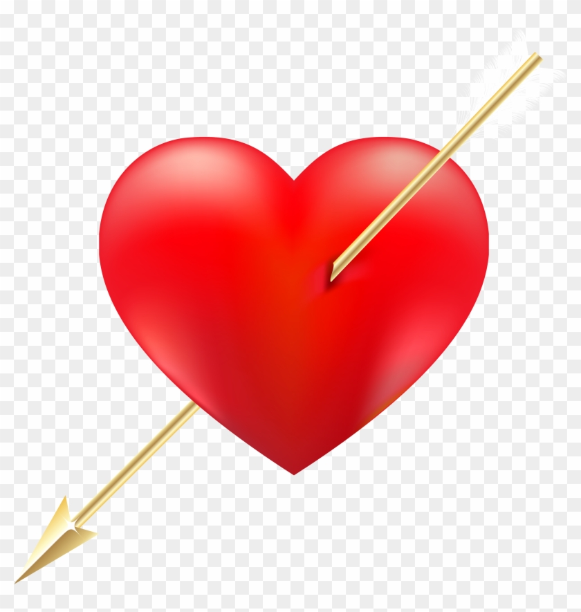 Red Heart With Arrow Png Clipart - Sticker #95645