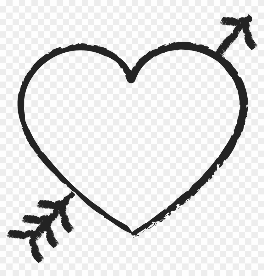 Heart With Arrow Rubber Stamp - Hearts And Arrows #95646
