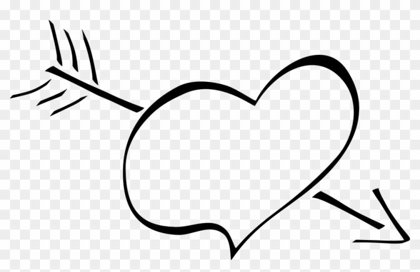 Heart Arrow Love Cupid Valentine Romance Symbol Black And White