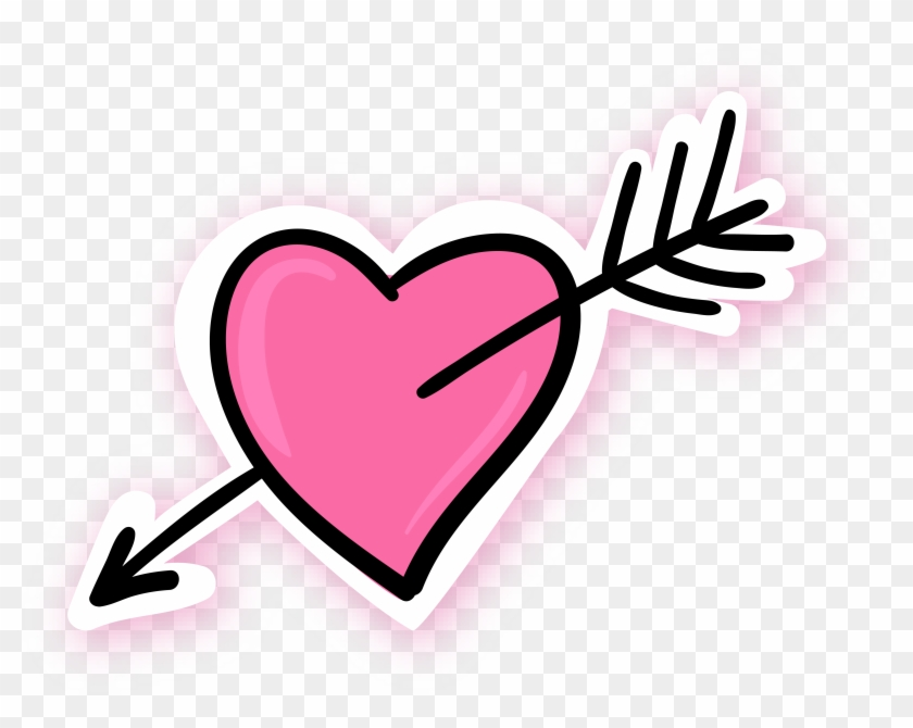 Arrow Through The Heart Pink Blue - Pink Heart With Arrow Png #95831
