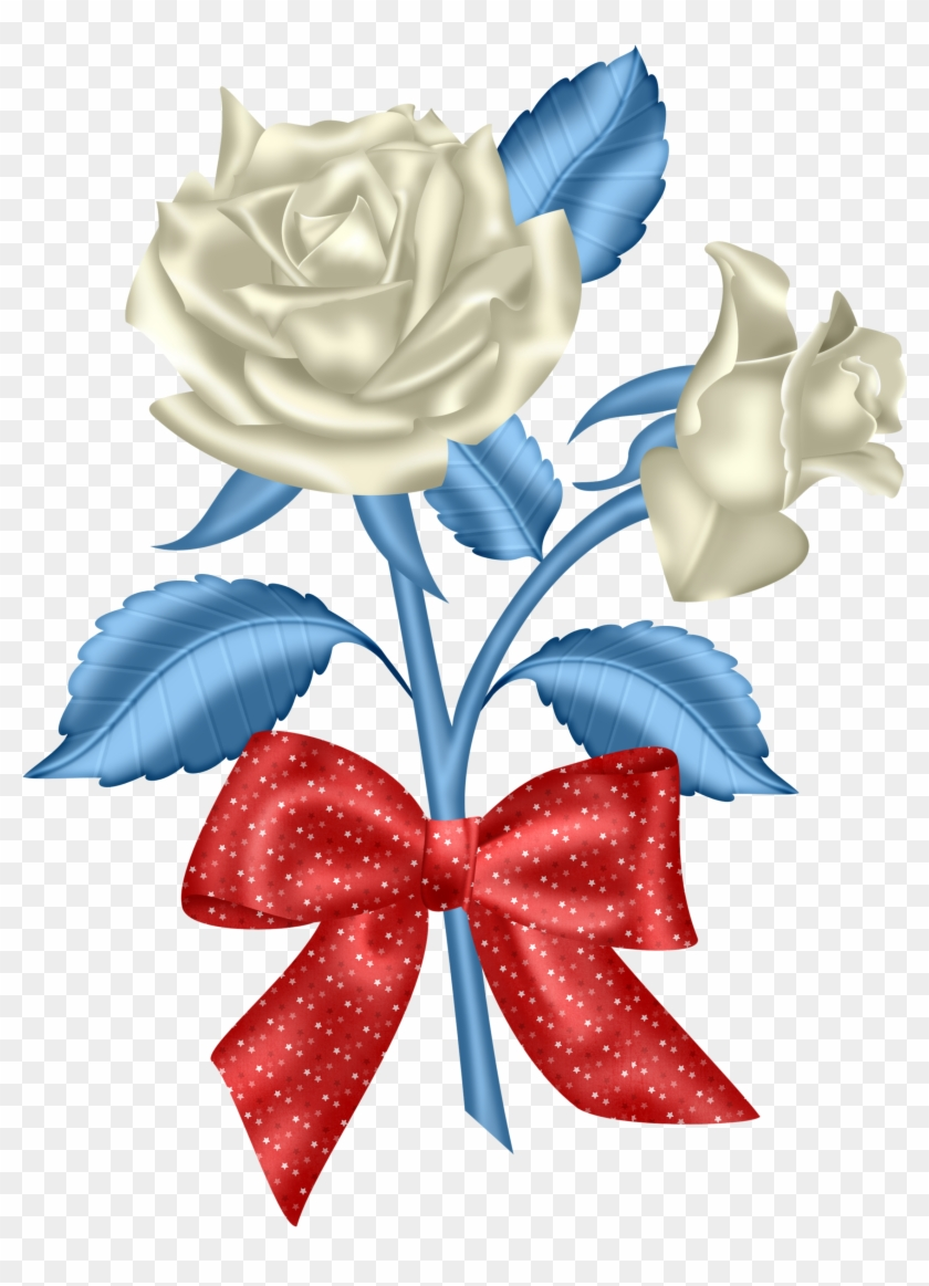 Red White & Blue - Red White And Blue Flowers Clipart #95972
